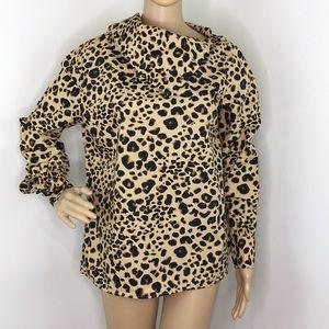 Liz Claiborne Leopard Print Long Sleeve Blouse